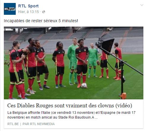 RTL Sport vidéo Diables Rouges